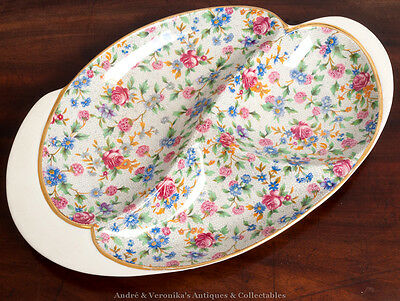 c 1940's ROYAL WINTON 'Old Cottage Chintz' Unusual Serving Plate Dish Grimwades