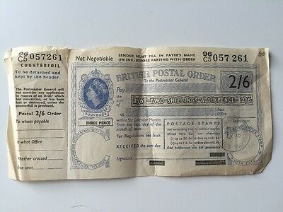 Vintage British Postal Order - 1966 - 2 Shillings  6p Counterfoil Loughborough