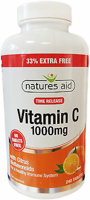 Natures Aid Vitamin C 1000mg Time Release (with Citrus Bioflavonoids) 240 Tabs