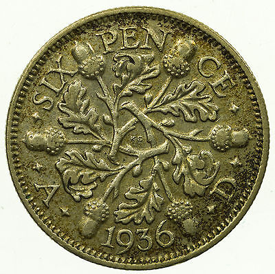 Great Britain, George V Sixpence, Silver, 1936