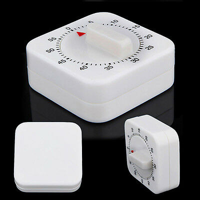Novelty White Square 60-Minute Mechanical Timer Reminder Counting for Kitchen C