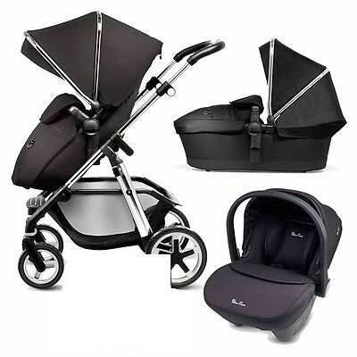 Silver Cross Pioneer And Car Seat Complete System 3 In 1 Complete Black Vgc