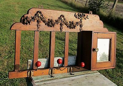 Vintage Wooden Wall coat rack small cabinet mirror Ornate Guirlandes Lovely Rare