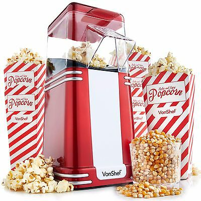 VonShef Retro Hot Air Popcorn Maker - FREE 6 Boxes and 500g of Kernels