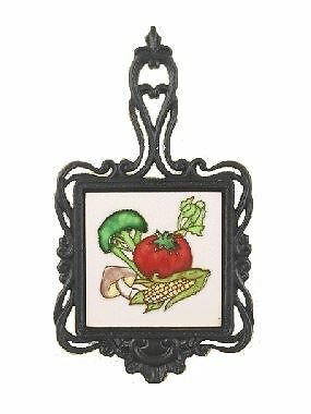 Vegetable Design Cast Iron and Ceramic Kettle Square Kitchen Trivet