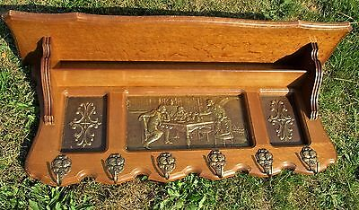Vintage Wooden  Coat Hat Rack Copper Brass Breughel Scene Lovely