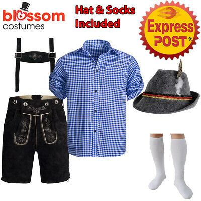 K222 Authentic German Black Faux Suede Lederhosen Oktoberfest Beer Mens Costume