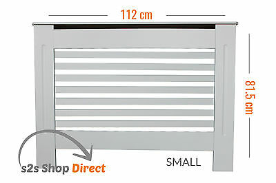 Modern Painted Slatted Radiator Cover Cabinet Shelf White Wood MDF - Small Size