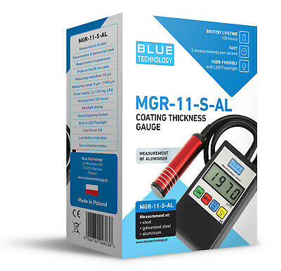 BLUE TECHNOLOGY  MGR-11-S-AL  Paint Coating Thickness Gauge for Cars  TESTER