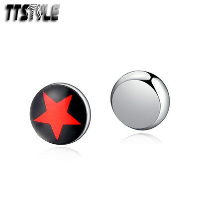 TTstyle 8mm Stainless Steel Red Star Round Magnet Earrings Single/A Pair NEW