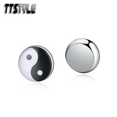 TTstyle Stainless Steel Ying&Wang Round Magnet Earrings Single/Pair NEW