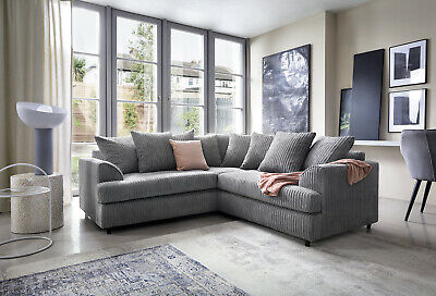 Ferguson Cord Chenille Fabric Corner Sofa in Grey or Brown