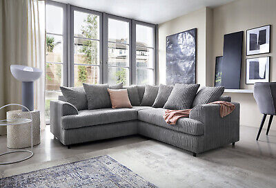 Ferguson Cord Chenille Fabric Corner Sofa in Grey or Brown, Swivel, Footstool