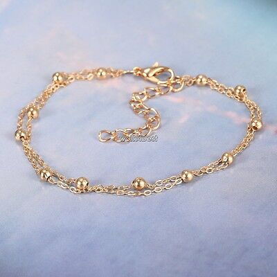 Stylish Women Gold Plated Alloy 2 Layers Beads Ankle Chain Bracelet Jewelry