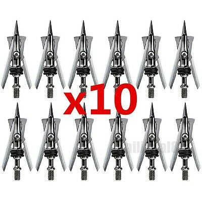 120 Pcs 2'' Cut 100 Grain Hypodermic Silver Target Arrow Tips Points Broadheads