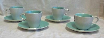 4 Retro Poole Twintone Ice Green & Seagull Cups & Saucers