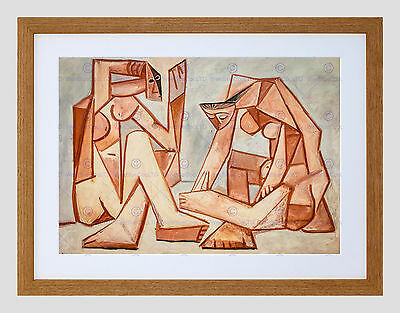Painting Cubism Impression Picasso Two Women On The Beach Framed Art F12X10183