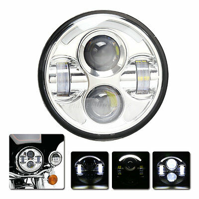 5.75 Projector Daymaker LED Light Bulb Chrome Motorcycle Headlight for Harley