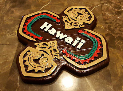"""7"""" x 7"""" Personalized Polynesian Themed Tiki Sign / Plaque (Disney Inspired Prop)"""