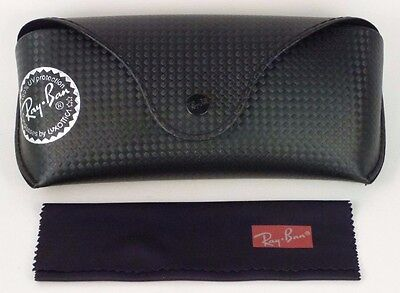 New Genuine RAY-BAN Sunglasses FlipTop Black Leather Storage Case with Cloth