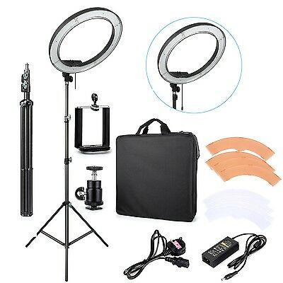 """UK ES240 18"""" 5500K Dimmable LED Adjustable Ring Light with Diffuser ,light stand"""
