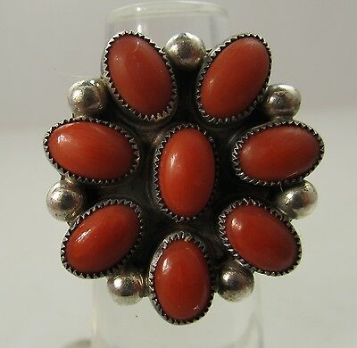 Vintage Natural Coral Sterling Silver Ring Terry Martinez Navajo