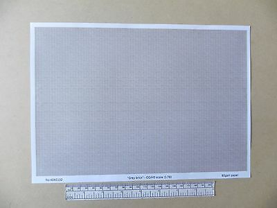 "OO/HO gauge (1:76 scale) ""grey brick"" -  paper - A4 sheet"