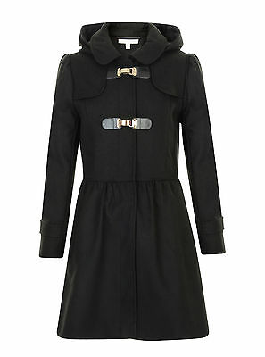 Girls Duffle Coat Black Wool Hooded Rrp £32 Tammy Girl 9-16 Years Bnwt