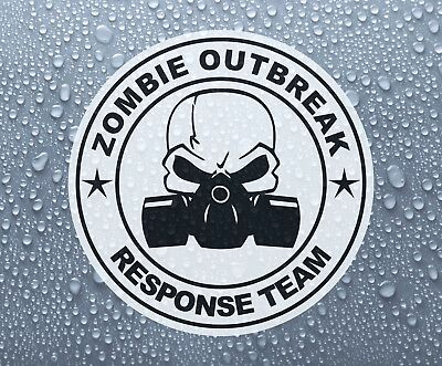 Zombie Outbreak Skull & gas mask printed self-adhesive sticker #4 - Large sizes