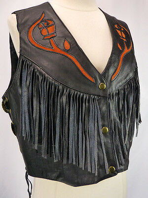 Vintage Black Leather Motorcycle Vest w/Fringe & Rose Suede Cutouts Tie Sides M