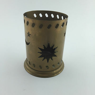 Gold-Colored Metal Candle Holder -  Sun & Star & Moon Patterns