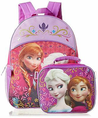 Disney Girls' Frozen Elsa and Anna Backpack with Lunch Box - Kit