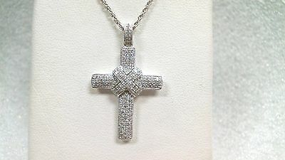 """Silver Cross pave set Cubic Zirconia with 18"""" Starter chain 925 silver"""