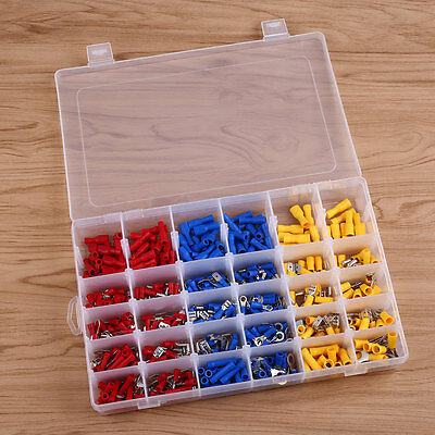 480Pcs Electrical Wire Terminals Insulated Connectors Spade Ring DIY Auto Car