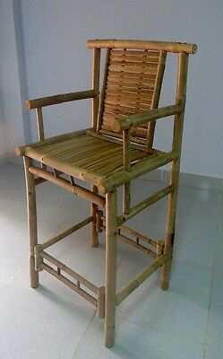 """Set of 2 Pieces, Bamboo Armrest Bar Stool with back support, 20""""W x 46""""H"""