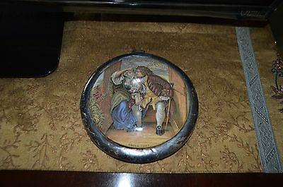 "Antique Pratt Prattware Lid ""Uncle Toby"" Scene Framed"