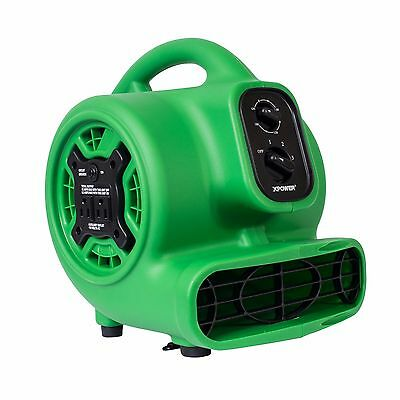 XPOWER P-230AT 1/5 HP Mini Air Mover Carpet Floor Dryer w/ Timer & Outlets-Green
