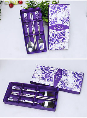 Korean Style Chinese Stainless Steel Chopsticks Set Fork Spoon Gift Box 5 Colors