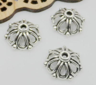 Free Ship 50pcs Tibetan Silver Flower Beads Caps For Jewelry Making 14x6mm