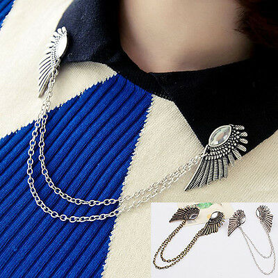 Retro Collar Clip Punk Chain Tassel Blouse Shirt Angel Wing Tips Pin Brooch Gift