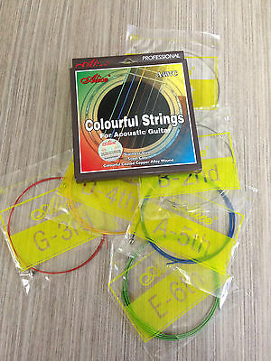 Alice A407C Colorful Acoustic Guitar Strings Multi-colored Steel String Set