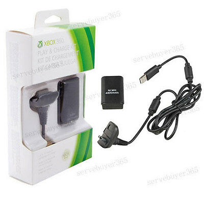 Rechargeable Battery USB Cable Pack Kit for Xbox 360  Wireless Game Controller