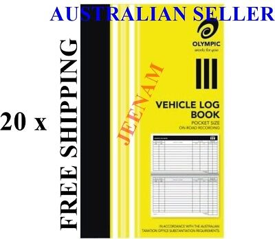 20xOlympic Pocket Vehicle Log Book 180 x 110mm 64 Page Car truck ATO requirement