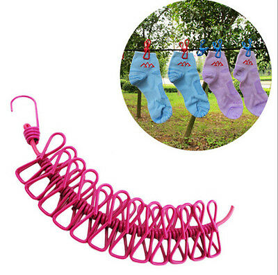 Clothesline 12 Clips Windproof Portable Outdoor Travel Stretch New Rope With