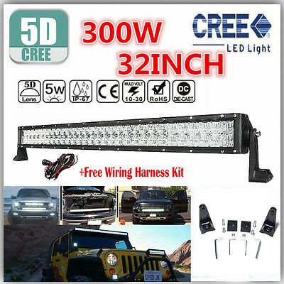 """Offroad Driving Lamp 4WD Truck SUV 300W 5D CREE 32""""INCH LED Combo Work Light Bar"""
