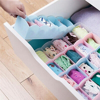 Plastic Organizer Tie Bra Socks Drawer Cosmetic Divider Storage Box Container