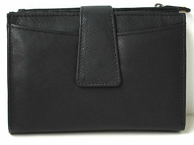 RFID Security Lined Quality Full Grain Cow Hide Leather Purse. BLK Style: 21056.