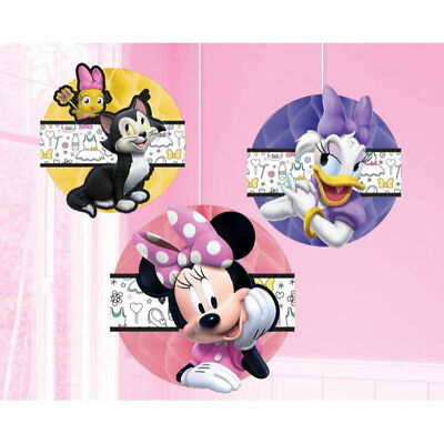 Minnie Mouse Party Supplies HONEYCOMB DECORATIONS Pack Of 3 Genuine Licensed