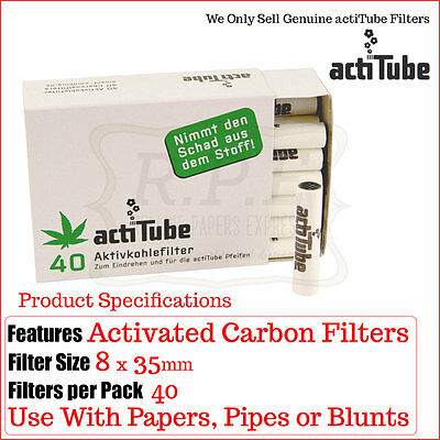 Actitube (Ex Tune) Charcoal Carbon Filter Tips - 40 Pack Multi Listings