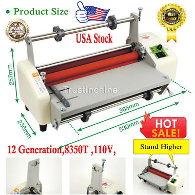"13""Thermal Laminator 110V A3 Doubel Sides Hot Cold Laminating 8350T Speed Adjust"